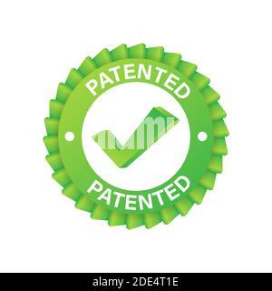 Etiqueta verde patentada sobre cinta azul sobre fondo blanco. Ilustración de stock vectorial.