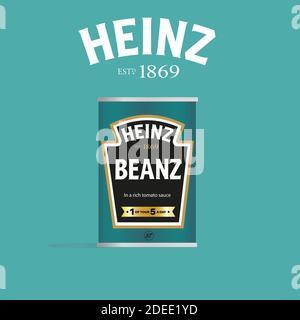 Heinz Beanz puede vector ilustración (sólo para uso editorial) sobre un fondo verde claro