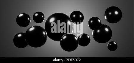 Abstracto flotando flotando esferas redondas, globos o bolas, cgi render ilustración, fondo de papel pintado de rendering, iluminación de colores, negro, brillante