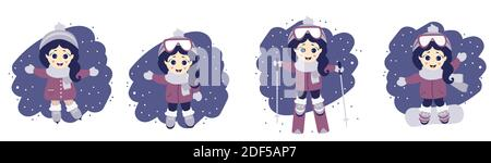 Juego de niña y deporte de invierno. Linda chica en esquí, patinaje sobre hielo y snowboard sobre fondo azul con nieve. Ilustración vectorial. Recogida de niños