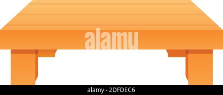 Icono de mesa de madera baja. Dibujos animados de bajo icono de vector de mesa de madera para diseño web aislado sobre fondo blanco