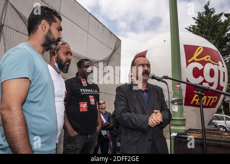 El Secretario General del sindicato francés CGT, Philippe Martinez, llegando a la RATP, para apoyar a un delegado de la CGT de la RATP, amenazado de despido en París, Francia, el 20 de julio de 2020. Foto de Pierrick Villette/Avenir Pictures/ABACAPRESS.COM