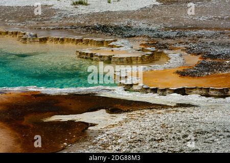 Característica geotérmica colorida, piscina de Doublet con depósitos de geyserita festoneado de sílice opalina alrededor de la frontera, el agua alrededor de 190○f rara erupción corta