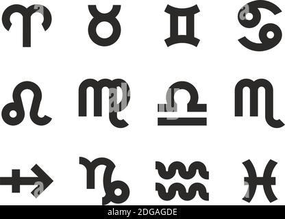 Símbolos del zodiaco iconos Blanco y Negro conjunto Grande