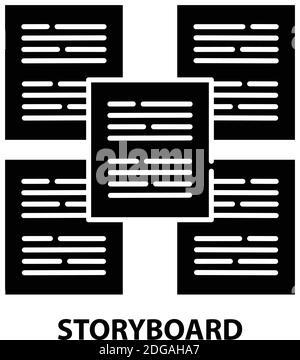 icono de guión gráfico, signo de vector negro con trazos editables, ilustración de símbolo de concepto