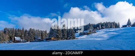Ferienhaus im Schnee am Waldrand. Verschneiter Tannenwald mit Aussicht. Invierno en Bergen. alpino