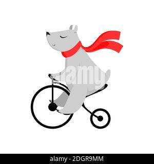 Cartoon oso en bufanda roja en bicicleta. Lindo personaje, bicicleta, actividad. Concepto animal. Se puede utilizar para temas como circo, espectáculo, deporte Foto de stock