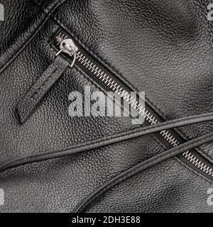 Detalle de bolso de cuero negro con cremallera y correa negra de cerca, fondo, textura