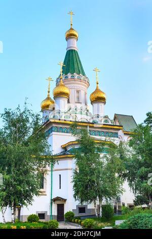 La iglesia rusa en el centro de la ciudad de Sofía, Bulgaria