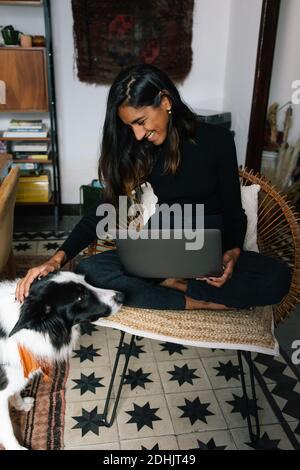 Encantada mujer independiente de la India sentada en silla y trabajando a distancia Desde casa con el perro obediente Border Collie sentado cerca