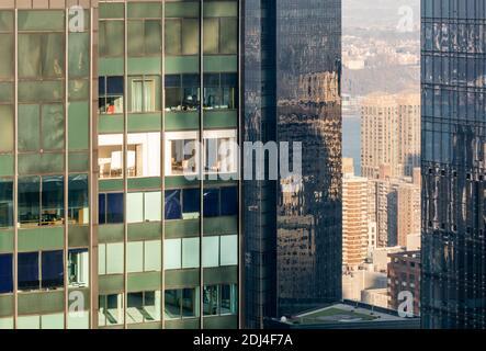 Vista aérea detallada de los edificios en la ciudad de Nueva York