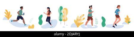 La gente corre en el parque de la ciudad, ejercicio actividad deportiva vector ilustración conjunto. Dibujos animados hombre joven mujer corredores personajes hacer ejercicio saludable en la naturaleza, mañana o día jogging y entrenamiento aislado en blanco