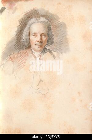 Cabeza de un hombre mayor, Thomas Patch, 1725–1782, británico, 1760, tiza negra, tiza roja y lavado gris en papel medio, ligeramente texturizado, de color crema atado en carta fiorentina, Hoja: 8 3/4 x 6 1/2 pulgadas (22.2 x 16.5 cm) y columna: 8 7/8 pulgadas (22.5 cm), Gran Tour, retrato