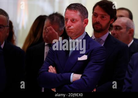 Lapo Elkann durante una conferencia de prensa de Ferrari en el Paris Motor Show 2016 en Palais des Expositions, París, Francia el 29 de septiembre de 2016. Foto de Henri Szwarc/ABACAPRESS.COM Foto de stock