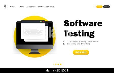 Banner de pruebas de software. Desarrollo, programación, codificación en ilustración informática. Vector sobre fondo blanco aislado. EPS 10