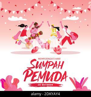 Ilustración vectorial. selamat hari Sumpah pemuda. Traducción: Feliz promesa de la juventud Indonesia. Adecuado para tarjetas de felicitación, pósteres y pancartas