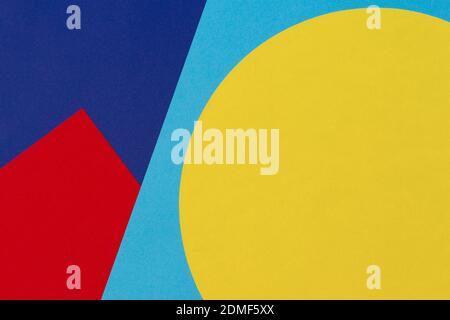 Resumen Geometría del papel Color azul, rojo y amarillo Composición Fondo.