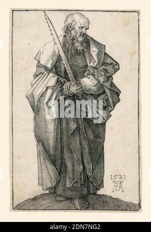 San Simón, Albrecht Dürer, alemán, 1471–1528, grabado sobre papel laado, se muestra la figura completa del santo barbudo de pie, frente al espectador, su cabeza girada hacia la derecha, de perfil. Sus manos están cruzadas delante de él, la mano derecha sosteniendo una espada levantada. Fondo neutro. Monograma del artista, y la fecha, '1523', abajo a la derecha., Alemania, 1523, religión, impresión