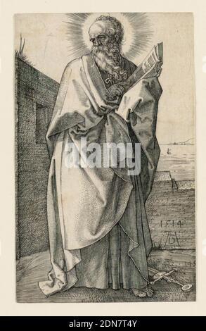 San Pablo, Albrecht Dürer, alemán, 1471–1528, grabado sobre papel, la figura completa del santo barbudo, de pie, girada hacia la derecha, con la cabeza hacia la izquierda. Él sostiene un libro abierto en su brazo izquierdo, su mano derecha apuntando a un pasaje. Una espada yace en el suelo a sus pies. Una vista del mar en el fondo. El monograma y la fecha del artista, '1514', aparece en la parte inferior derecha de la pared detrás de la figura., Alemania, 1514, religión, impresión