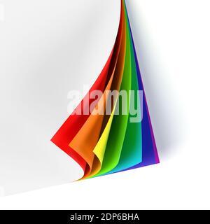 Documento en blanco con esquina curva de color arco iris