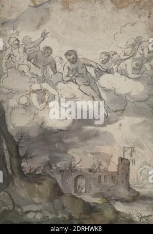Figuras celestiales por encima de un castillo devastado por la muerte y el Diablo, cepillo y tinta gris y lavados grises, verdosos, y rosados, Hoja: 29.3 × 20 cm (11 9/16 × 7 7/8 in.), hecho en Flandes, Flamenco, siglo 17, trabajos en papel - dibujos y acuarelas