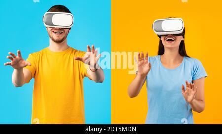 Pareja sonriente con auriculares de realidad virtual en el estudio