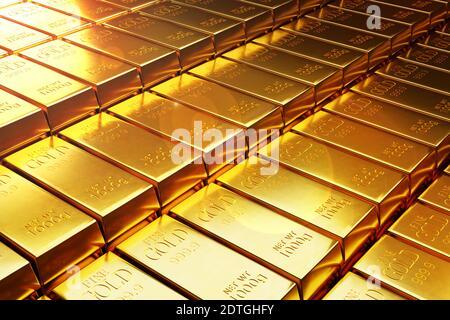 Muchas barras de oro o Ingot 3d ilustración