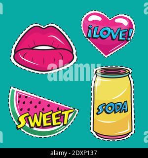 paquete de cuatro pegatinas de arte pop conjunto de iconos Foto de stock