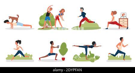 Las personas que hacen ejercicios de yoga deportivo en el parque, gimnasio o en el hogar vector ilustración conjunto. Dibujos animados jóvenes activos o personajes de mujeres hacen gimnasia, correr correr estirando aislado en blanco