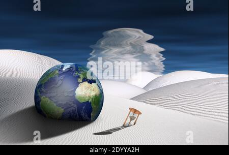 Desierto surrealista con reloj de arena y globo. Planeta reflejado en el agua. Renderizado en 3D