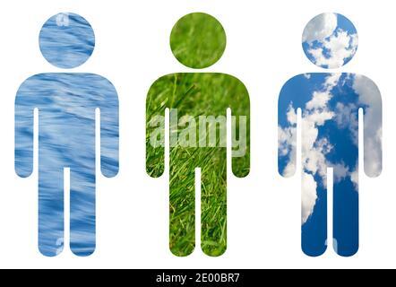 Ecología humana - icono del hombre lleno de agua, hierba y cielo brillante con nubes. Equilibrio y relación ecológica entre el hombre y la naturaleza - preservar,