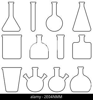 Set icons vidrio vajilla de laboratorio, matraces vectoriales y tubos de ensayo vajilla médica para investigación de laboratorio