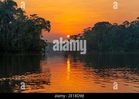 Reflejo de la puesta de sol en la selva amazónica. La cuenca del río Amazonas comprende Brasil, Bolivia, Colombia, Ecuador, Guyana, Surinam, Perú y Venezuela.