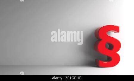 Signo de párrafo rojo sobre fondo gris, representación tridimensional, ilustración 3D