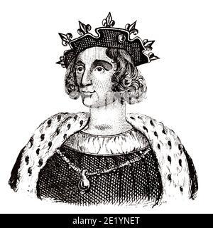 Retrato de Luis IX el Santo (1215 - 1270). Rey de Francia de 1226 a 1270. Casa de Capet, Direct Capetians o Casa de Francia. Historia de Francia, del libro Atlas de la France 1842