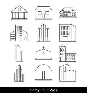 conjunto de iconos de edificios de la ciudad sobre fondo blanco, estilo de línea, ilustración vectorial