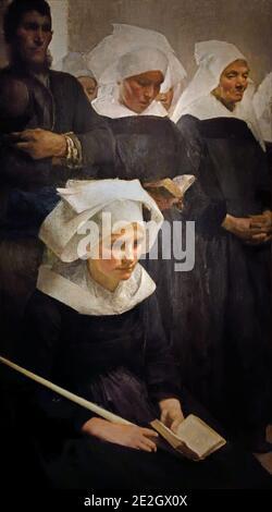 Bretons rezando 1888 ( Pascal Adolphe Jean Dagnan-Bouveret 1852 – 1929, Francia, francés, Pardon, una antigua peregrinación popular bretona arraigada en la fe tradicional, después de sus visitas a Ormoy.) vestimenta religiosa de las enfermeras Foto de stock