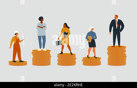 Las personas ricas y pobres con diferentes salarios, ingresos o crecimiento de la carrera oportunidades injustas. Concepto de desigualdad financiera o brecha en la ganancia. Vector plano