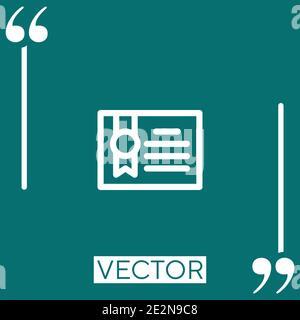 Icono de vector de certificado icono lineal. Línea trazada editable