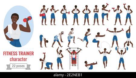 Fitness entrenador hombre plantea vector ilustración sistema. Dibujos animados joven deportivo personaje masculino en sportswear celebración de pesas, posando en diferentes posiciones de ejercicio, gimnasio aislado en blanco