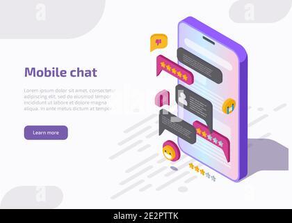 Interfaz de la aplicación de chat móvil en la pantalla del smartphone con mensajes, emoji, burbujas de voz en el cuadro de diálogo. Diseño de la aplicación Messenger. Vector página de aterrizaje con ilustración isométrica de la conversación en línea.