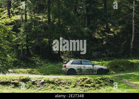 un coche viejo y mohoso abandonado en un bosque. un coche oxidado en el bosque