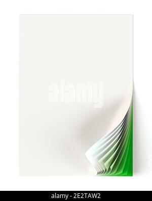 El documento en blanco se mofa con una esquina verde con curva monocromo. Elemento de diseño gráfico. Identidad corporativa del negocio, anuncio, página web, cartel con