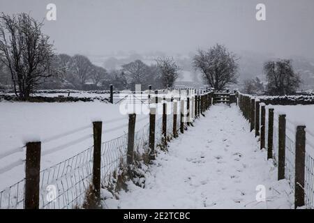 Un estrecho sendero público y el derecho de paso marcado por cercas a través de tierras de cultivo cubiertas de nieve en enero en Yorkshire, Inglaterra, Reino Unido