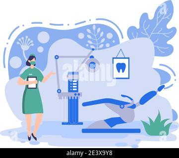 Oficina dental Ilustración de color plano. Interior del hospital con Workplace, equipos, instrumentos, Consulta, tratamiento y Diseño de Diagnóstico