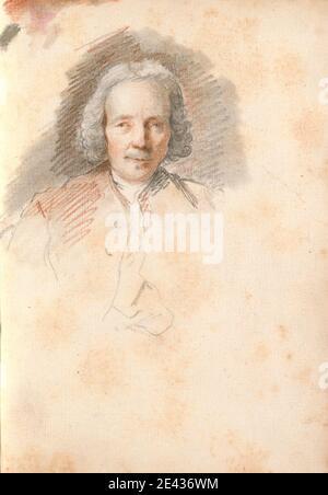 Thomas Patch, 1725-1782, británico, jefe de un hombre mayor, 1760. Tiza negra, tiza roja y lavado gris en papel crema de textura media y ligeramente texturizada, encuadernado en carta fiorentina. Gran Tour, retrato