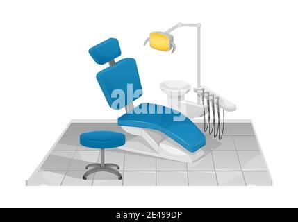 Ilustración vectorial de una silla dental. Consultorio del dentista. Clínica dental.