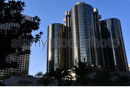 Los Angeles, CA, EE.UU. - 10 de octubre de 2019: El Westin Bonaventure Hotel, el hotel más grande de la ciudad, diseñado por el arquitecto John C. Portman Jr