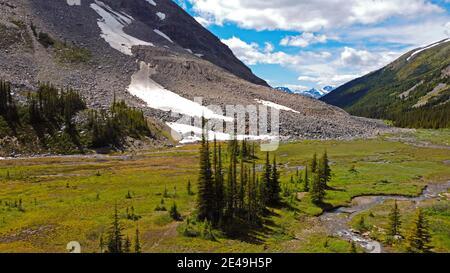 Paisaje en Shovel Pass Lodge, Skyline Sendero de caminatas en Jasper, Parque Nacional Jasper, Montañas Rocosas, Alberta, Canadá
