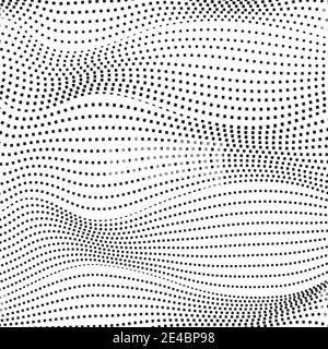 Líneas discontinuas negras, fondo blanco. Diseño de arte en blanco y negro. Concepto futurista abstracto. Gráfico de medios tonos. Patrón vectorial de tecno. EPS10